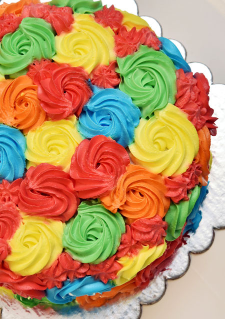 Multicoloured Rossette Cake